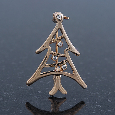Small Contemporary Holly Jolly Christmas Tree Brooch In Gold Plating - 30mm Length - main view