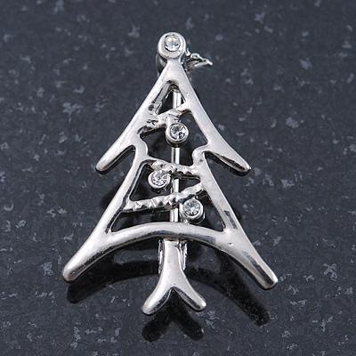 Small Contemporary Holly Jolly Christmas Tree Brooch In Rhodum Plating - 30mm Length