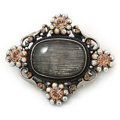 Vintage Inspired Oval Diamante Glass Brooch In Burn Silver Tone - 47mm Width - main view