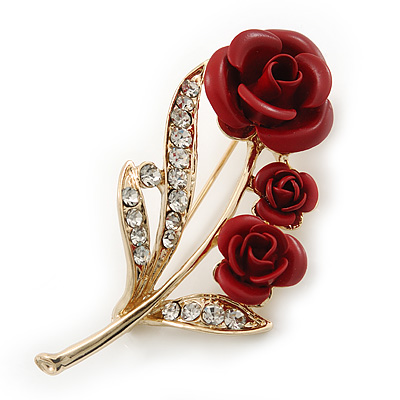 Gold Plated Red 'Roses' Diamante Brooch - 52mm Length