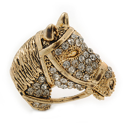 Burn Gold Diamante Horse Head Brooch - 30mm Across - main view