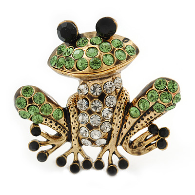 38mm Length Avalaya Funky Diamante Frog Brooch in Burn Gold Tone