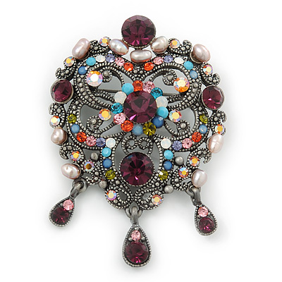 Vintage Inspired Multicoloured Diamante Freshwater Pearl Oval With Dangles Brooch In Burn Silver Metal - 65mm Length