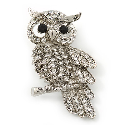 Rhodium Plated Crystal Owl Brooch - 60mm Length - main view