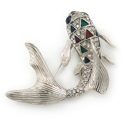 Rhodium Plated Diamante 'Fish' Brooch - 45mm Across