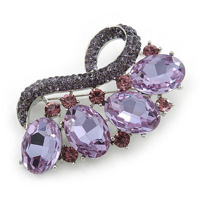Contemporary Amethyst Oval Glass, Lavender Crystal Brooch In Rhodium Plating - 60mm Across