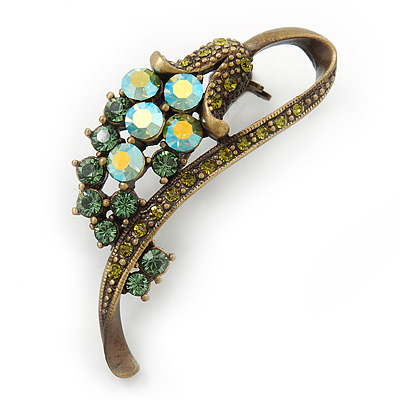 Vintage Inspired AB, Green Austrian Crystal 'Grapes' Brooch In Bronze Tone - 44mm Length - main view