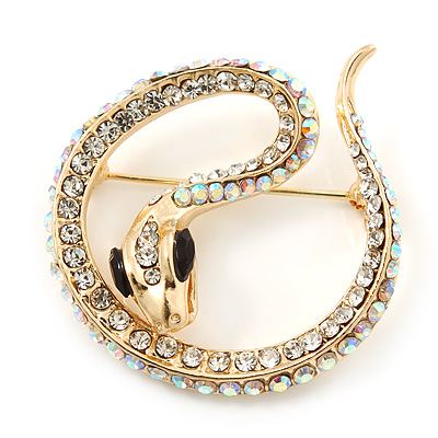 Gold Tone AB, Clear Crystal Coiled Snake Brooch - 40mm Width