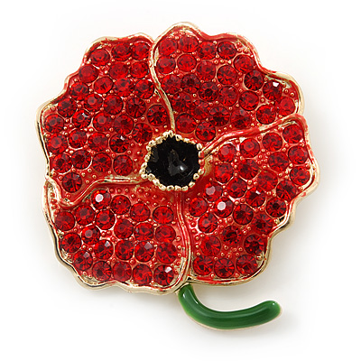 Red Austrian Crystal Poppy Flower Brooch In Gold Plating - 40mm Length
