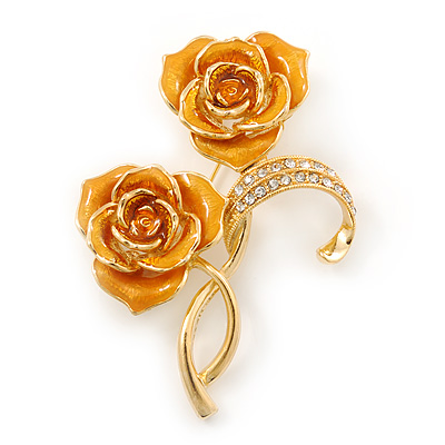 Gold Yellow Enamel, Crystal Double Rose Brooch In Gold Plating - 65mm Length
