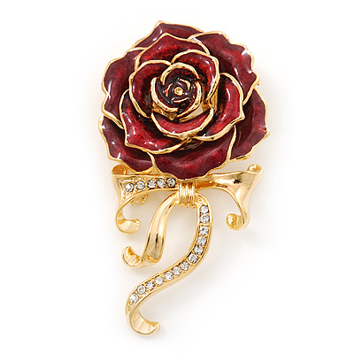 Burgundy Red Enamel Rose With Crystal Bow In Gold Plating - 65mm Length