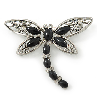 Silver Tone Filigree With Black Stone 'Dragonfly' Brooch - 70mm Width - main view