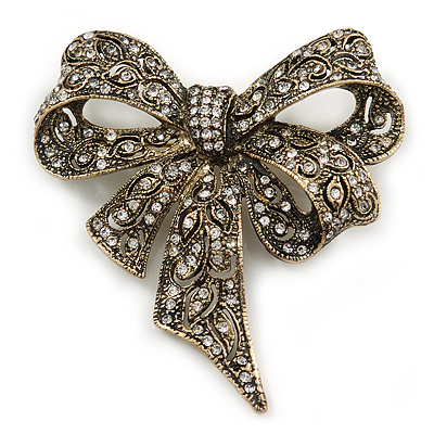 Vintage Inspired Austrian Crystal 'Bow' Brooch In Gold Tone - 65mm L
