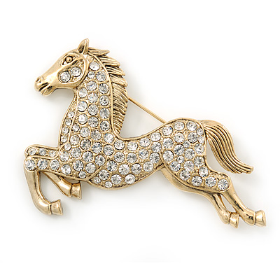 Large Swarovski Crystal 'Horse' Brooch In Gold Plating - 70mm Length