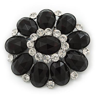 Victorian Style Black, Clear Acrylic Stone Floral Brooch In Gun Metal - 60mm Length