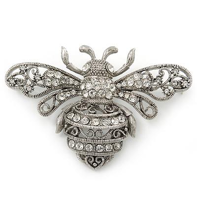 ae6f94cc824 Large Silver Tone Filigree, Swarovski Crystal 'Bumble Bee' Brooch - 70mm  Width -