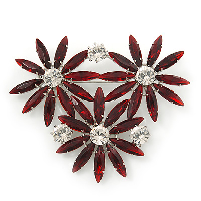 Dark Red, Clear Triple Flower Corsage Brooch In Silver Tone - 75mm Across