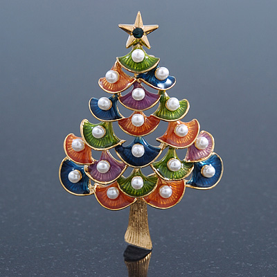 Multicoloured Enamel Simulated Pearl Christmas Tree Brooch In Gold Plating - 55mm Length - main view