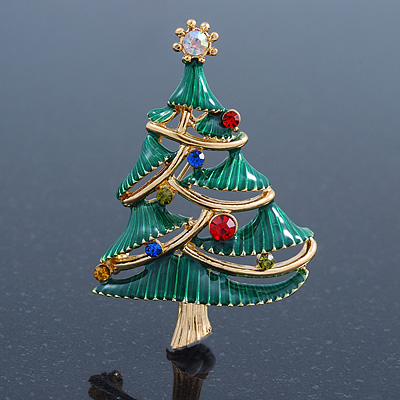 Multicoloured Austrian Crystals Green Enamel Christmas Tree Brooch In Gold Plating - 55mm Length