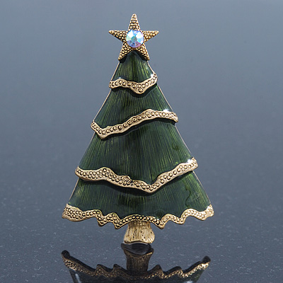 Green Enamel 'Christmas Tree' Brooch In Gold Plating - 6cm Length