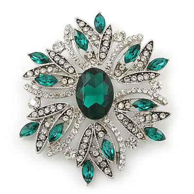 Stunning Bridal Emerald Green, Clear Austrian Crystal Corsage Brooch In Rhodium Plating - 60mm Length