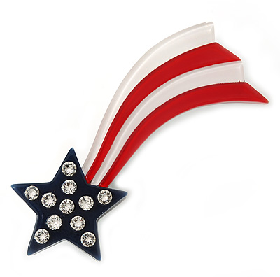 Star And Stripes Crystal Acrylic Brooch - 70mm Across