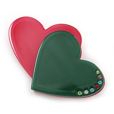 Magenta/ Dark Green Austrian Crystal Double Heart Acrylic Brooch - 70mm Across