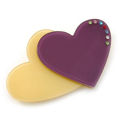 Yellow/ Purple Austrian Crystal Double Heart Acrylic Brooch - 70mm Across