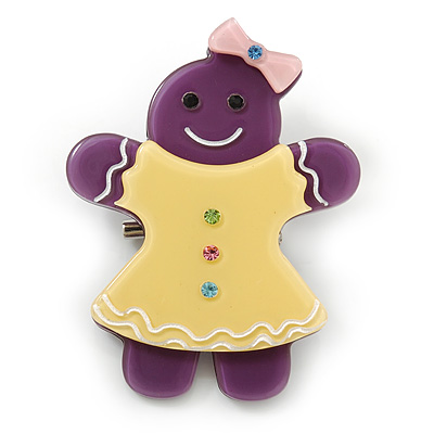 Purple/ Bright Yellow Austrian Crystal Acrylic 'Gingerbread Girl' Brooch - 50mm Length