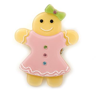 Bright Yellow/ Baby Pink Austrian Crystal Acrylic 'Gingerbread Girl' Brooch - 50mm Length