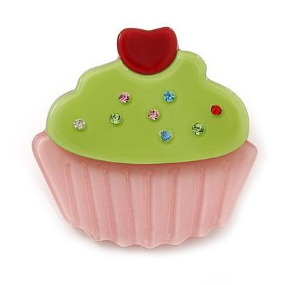 Baby Pink/ Lime Green Austrian Crystal Acrylic 'Cupcake' Pin Brooch - 40mm Across