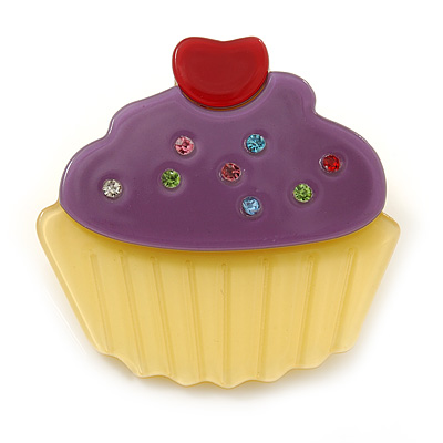 Purple/ Yellow Austrian Crystal Acrylic 'Cupcake' Pin Brooch - 40mm Across