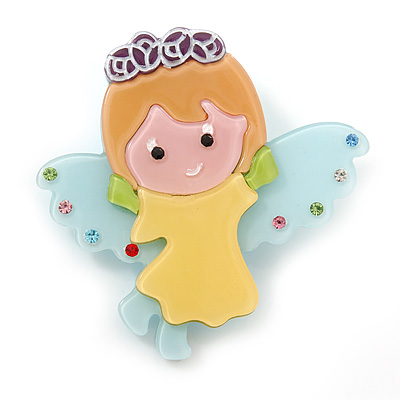 Light Blue/ Yellow Austrian Crystal, Acrylic 'Little Angel' Brooch - 50mm Length