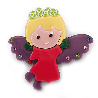 Purple/ Magenta Austrian Crystal, Acrylic 'Little Angel' Brooch - 50mm Length