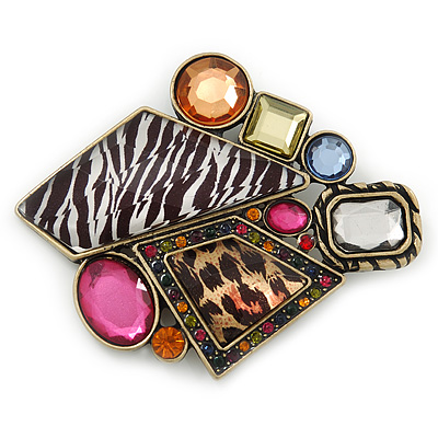 Animal Print, Multicolured Austrian Crystal Geometric Brooch In Antique Gold Tone - 80mm Across