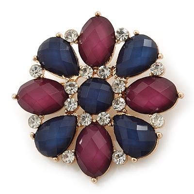 Cobalt Blue/ Violet, Crystal Flower Brooch In Gold Tone - 50mm Diameter