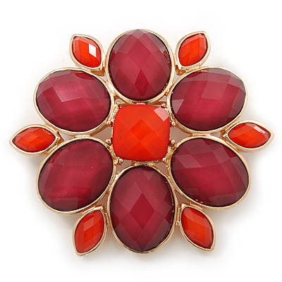 Carrot Red/ Cranberry Acrylic Stone Flower Corsage Brooch In Gold Tone - 55mm Diameter