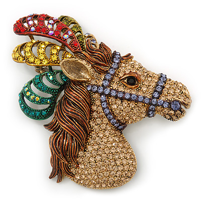 Large Multicoloured Austrian Crystal Circus Horse Head Brooch/ Pendant In Antique Gold Tone - 70mm Across