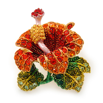 Red, Orange, Green Austrian Crystal Exotic Flower Brooch/ Pendant In Gold Plating - 35mm Length