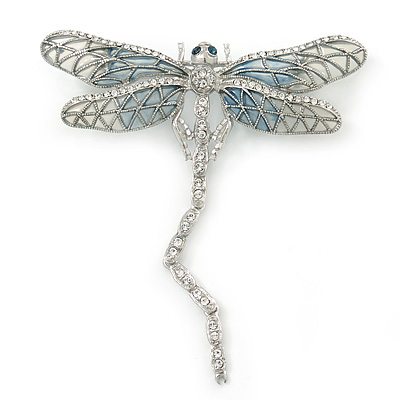 Grey, Pale Blue Austrian Crystal Dragonfly Brooch With Moving Tail In Rhodium Plating - 80mm Length