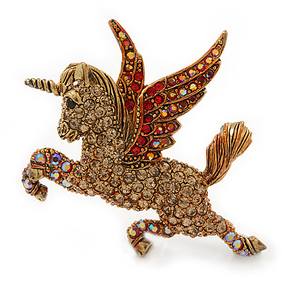 Stunning Austrian Crystal 'Unicorn' Brooch In Antique Gold Tone - 50mm Length
