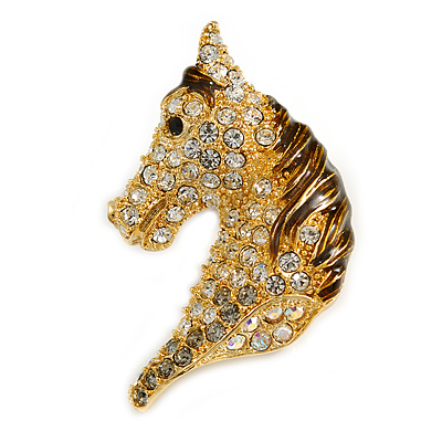 Austrian Crystal Horse Head Brooch/ Pendant In Gold Plating - 35mm Across - main view