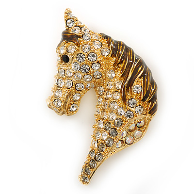 Austrian Crystal Horse Head Brooch/ Pendant In Gold Plating - 35mm Across