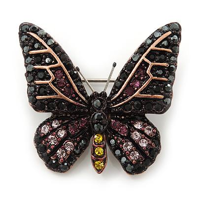 Small Black, Orange, Purple, Lavender Austrian Crystal Butterfly Brooch In Bronze Tone Metal - 30mm Length