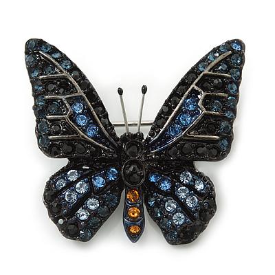 Small Black, Orange, Blue Austrian Crystal 'Monarch' Butterfly Brooch In Black Tone Metal - 30mm Length