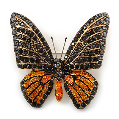 Black, Orange Austrian Crystal 'Tiger' Butterfly Brooch In Gold Plating - 50mm Length
