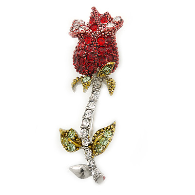 Small Red, Green Austrian Crystal 'Rose' Brooch In Rhodium Plating - 43mm L - main view