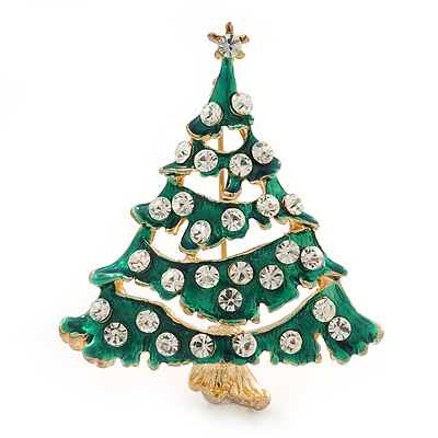 Vintage Inspired Holly Jolly Clear Crystal Christmas Tree Brooch In Gold Plating - 55mm Length - main view