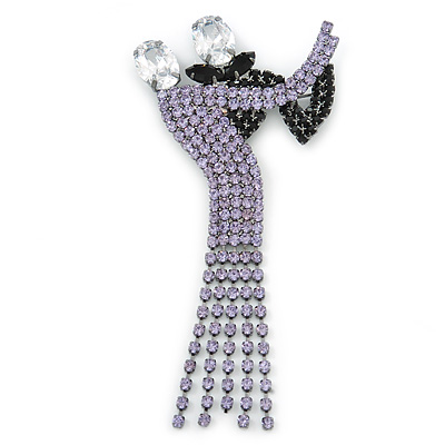 'Dancing Couple' Austrian Crystal Brooch In Gun Metal Finish (Black & Lilac Colour) - 105mm Length