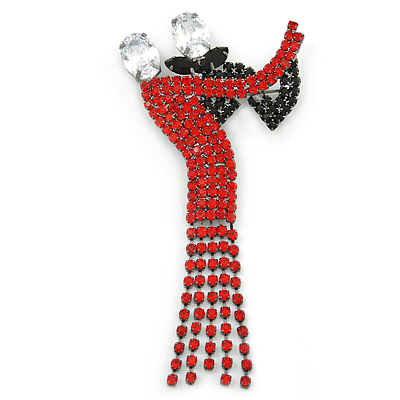'Dancing Couple' Austrian Crystal Brooch In Gun Metal Finish (Black & Red Colour) - 105mm Length
